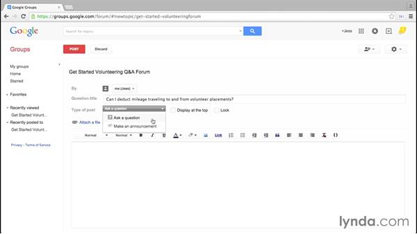 Creating posts and announcements: Google Groups Essential Training