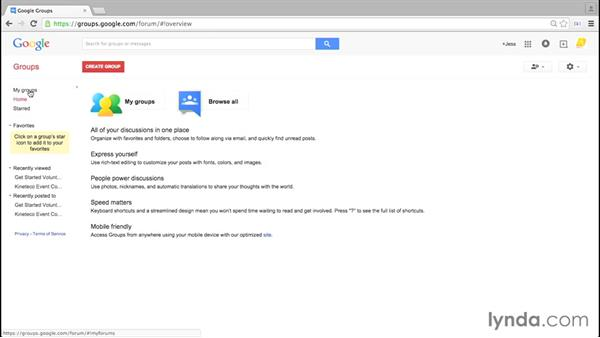 Exploring the interface of your groups: Google Groups Essential Training
