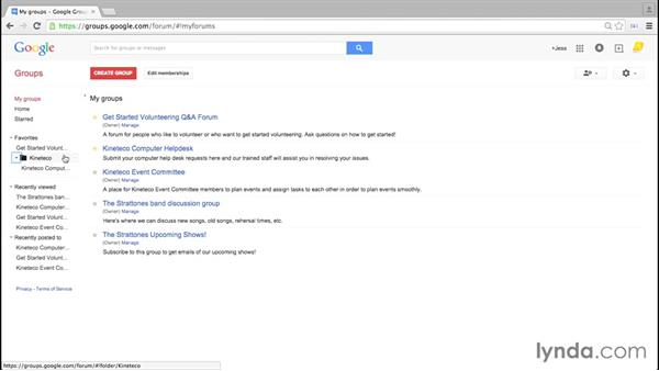 Favoriting and starring groups and topics: Google Groups Essential Training