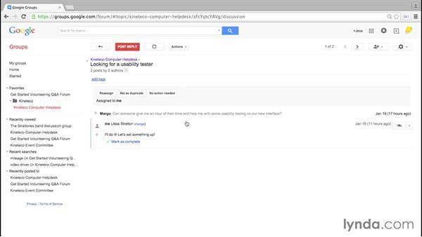Examining topic options: Google Groups Essential Training