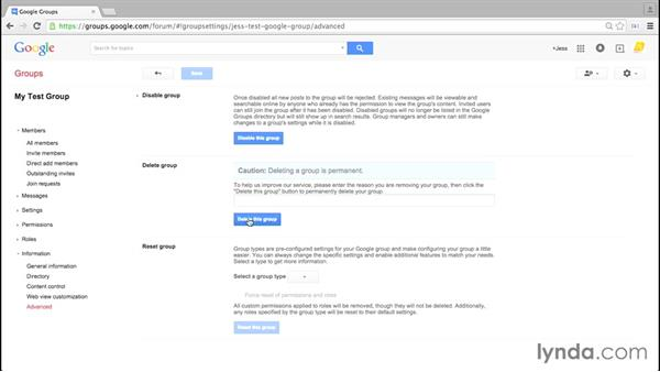 Disabling and deleting a group: Google Groups Essential Training
