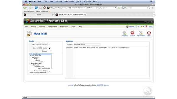 Using the Mass Mail feature: Joomla! 1.5 Essential Training