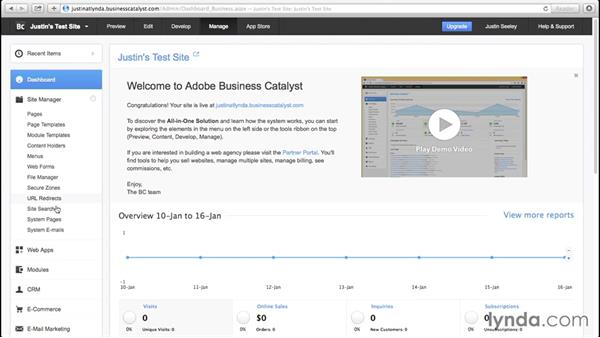 Exploring the Business Catalyst interface: Business Catalyst Integration with Muse