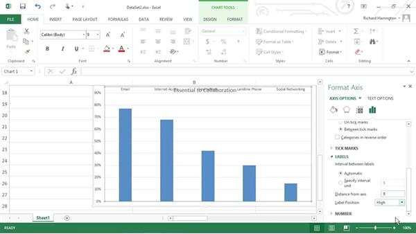 Modifying the appearance of a chart: Excel 2013: Working with Charts and Graphs