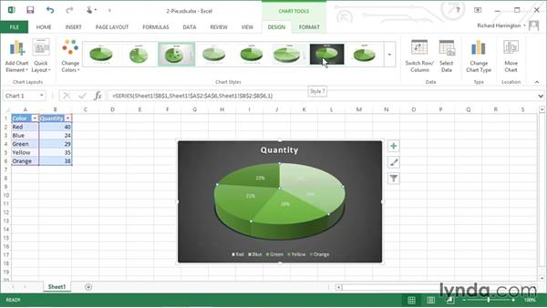 Using a pie chart: Excel 2013: Working with Charts and Graphs