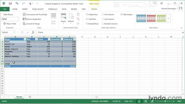 Working with headers: Excel 2013: Working with Charts and Graphs
