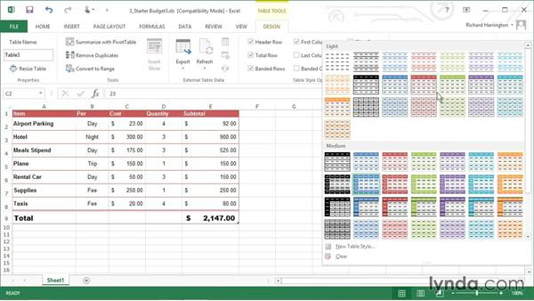 Applying styles to a table: Excel 2013: Working with Charts and Graphs