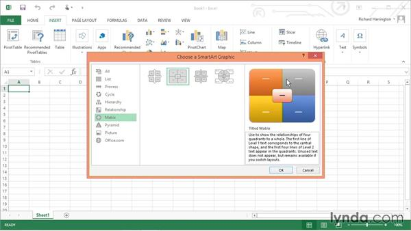 Adding a SmartArt graphic: Excel 2013: Working with Charts and Graphs