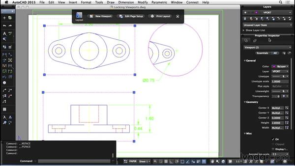 Locking viewports: AutoCAD for Mac 2015 Essential Training