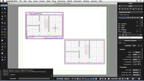 Viewport layers: AutoCAD for Mac 2015 Essential Training