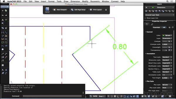 Aligned dimensions: AutoCAD for Mac 2015 Essential Training