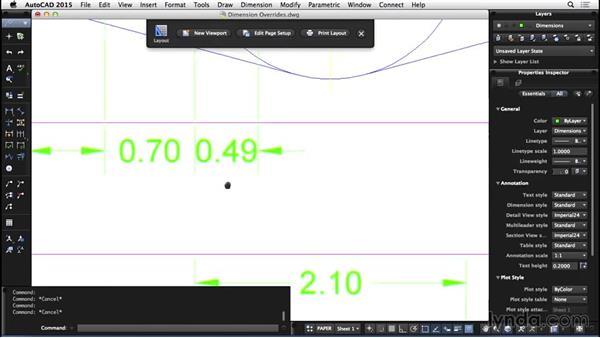 Dimension overrides: AutoCAD for Mac 2015 Essential Training