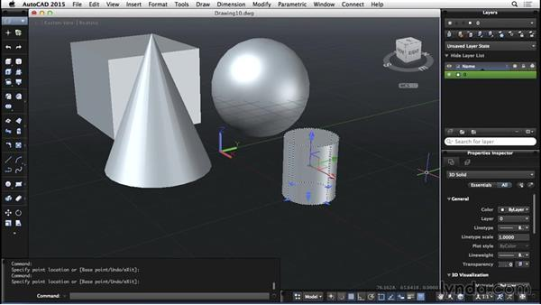 Basic 3D geometry: AutoCAD for Mac 2015 Essential Training