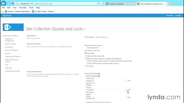 Working with quotas: SharePoint 2013 Site and Collection Administration