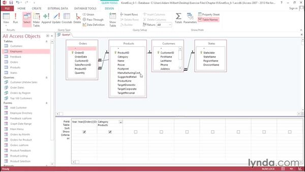 Selecting the desired parameters: Access 2013: Forms and Reports in Depth