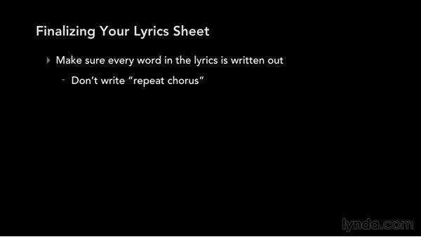 Finalizing your lyric sheet: Write, Think, and Act Like a Professional Songwriter