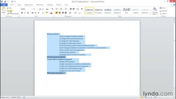 Copying tasks from another program: Microsoft® Project 2010 Essential Training