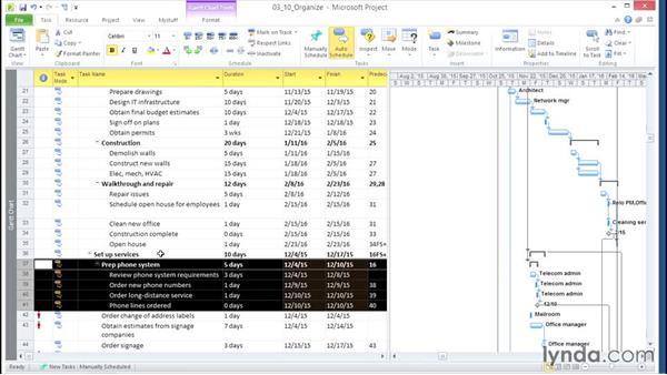Organizing tasks in a task list: Microsoft® Project 2010 Essential Training