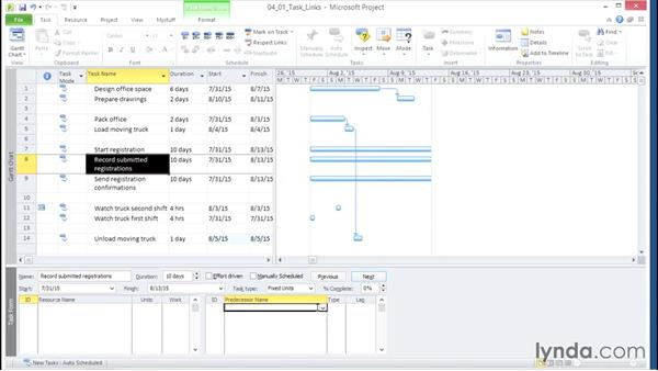 Linking tasks: Microsoft® Project 2010 Essential Training
