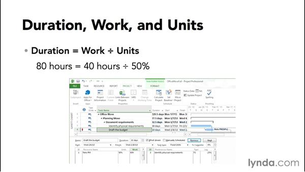 Understanding duration, work, and units: Microsoft® Project 2010 Essential Training