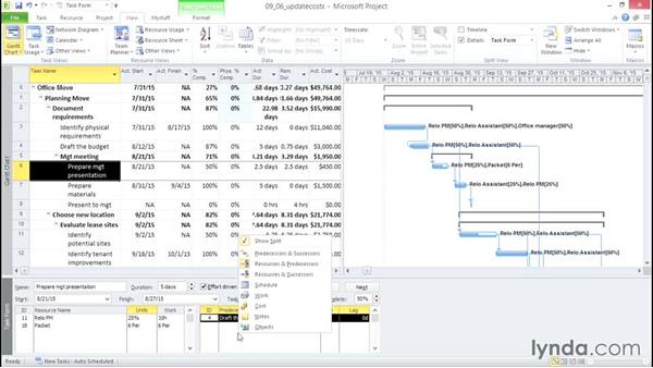 Updating costs: Microsoft® Project 2010 Essential Training