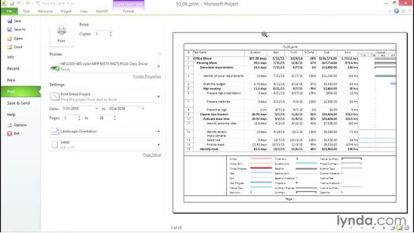 Printing views and reports: Microsoft® Project 2010 Essential Training