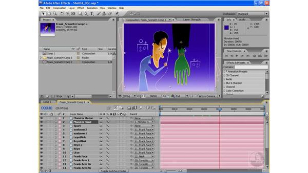 Animating the needle and thread and the monster's hand: After Effects CS3: Animating Characters