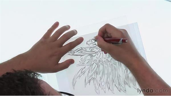 Getting started on the refined sketch: Artist at Work: Native American Tribal Illustration