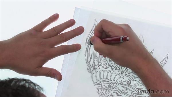 Finalizing the sketch for Illustrator: Artist at Work: Native American Tribal Illustration