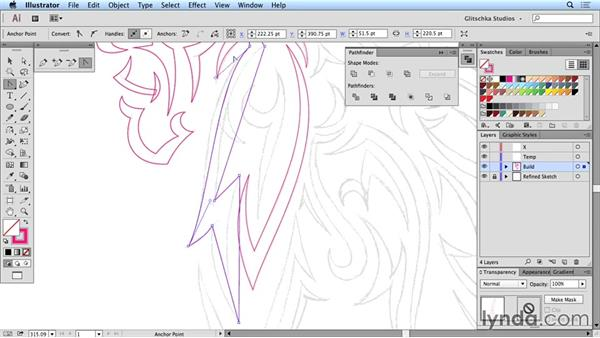 Drawing the side feathers in vectors: Artist at Work: Native American Tribal Illustration