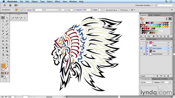 Colorizing the vector image: Artist at Work: Native American Tribal Illustration