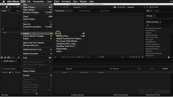 Loading a movie into After Effects: Pictures that Move: Creating Cinemagraphs with Photoshop, After Effects, Flixel, and Cliplets