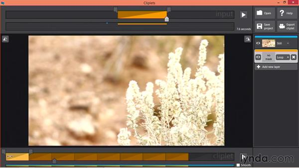 Choosing the background frame in Cliplets: Pictures that Move: Creating Cinemagraphs with Photoshop, After Effects, Flixel, and Cliplets