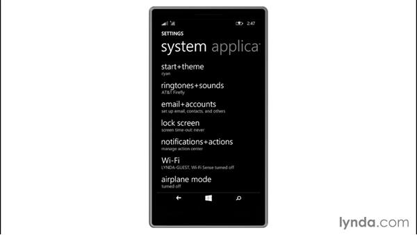Accessing phone settings: Up and Running with Windows 8.1 Phones