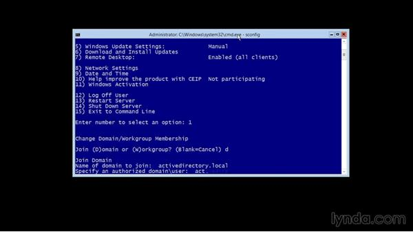 Joining a domain: Up and Running with Server Core for Windows Server 2012 R2