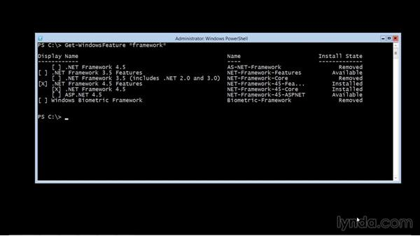 Installing new roles and features: Up and Running with Server Core for Windows Server 2012 R2