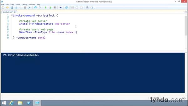 Solution: Deploying a core web server through PowerShell Remoting: Up and Running with Server Core for Windows Server 2012 R2