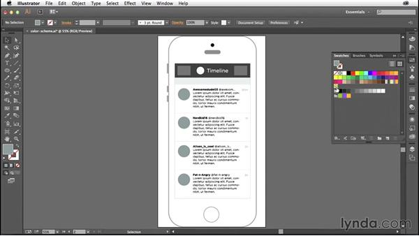 Choosing a color scheme for your wireframes: Illustrator CC for Web Design: Wireframing