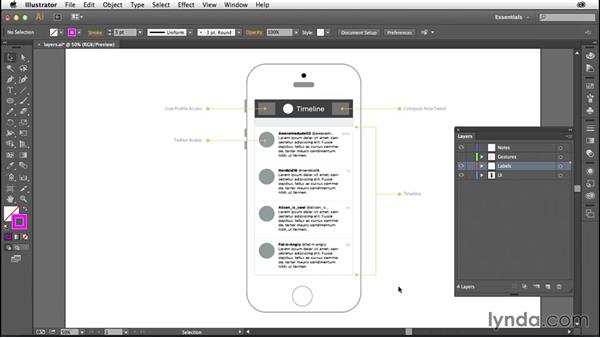 Creating a layer structure for your wireframe: Illustrator CC for Web Design: Wireframing