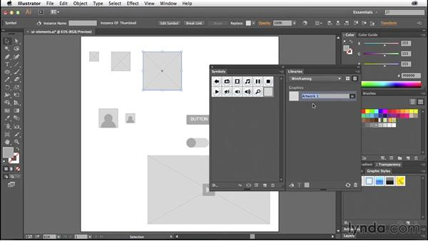 Using symbols vs. libraries: Illustrator CC for Web Design: Wireframing
