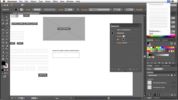 Creating a lorem ipsum library: Illustrator CC for Web Design: Wireframing