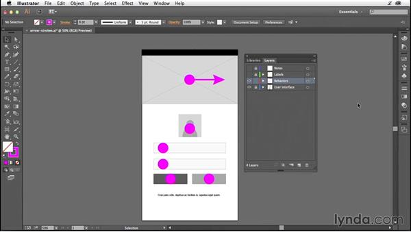 Using arrowhead strokes for emphasis: Illustrator CC for Web Design: Wireframing
