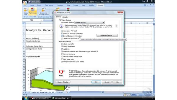 Creating a PDF from Excel: Acrobat 9 Pro Essential Training