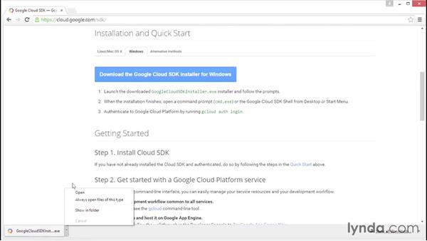 Installing the Google Cloud SDK on Windows: Google Cloud Storage and Data Essential Training