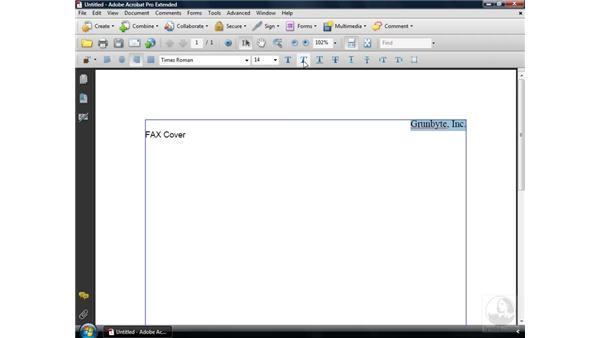 Creating a PDF from a blank page: Acrobat 9 Pro Essential Training