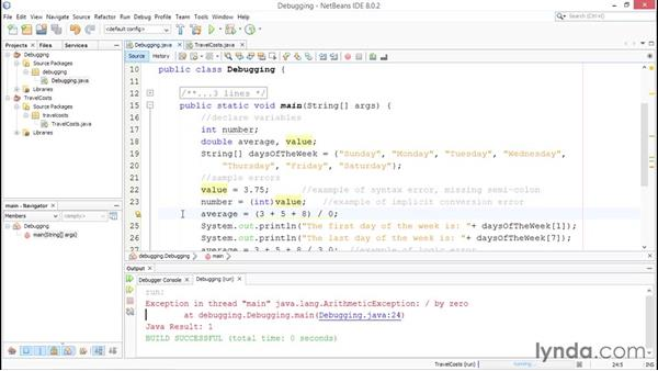 Debugging logic and syntax errors: Up and Running with Java