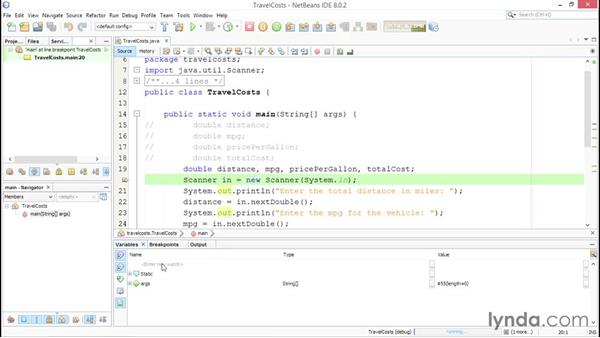 Using the debugger: Up and Running with Java