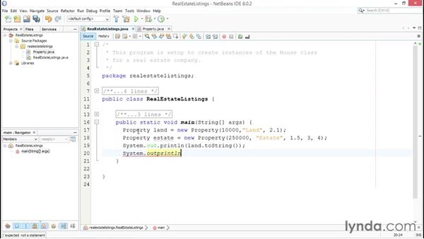 Instantiating classes: Up and Running with Java
