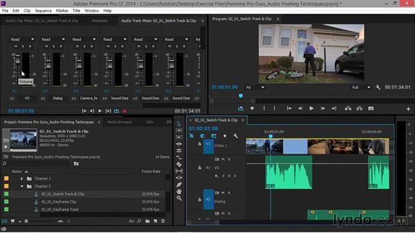 Switching between track- and clip-level control on the Timeline: Premiere Pro Guru: Audio Finishing Techniques
