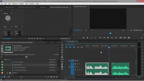 Adjusting gain: Premiere Pro Guru: Audio Finishing Techniques